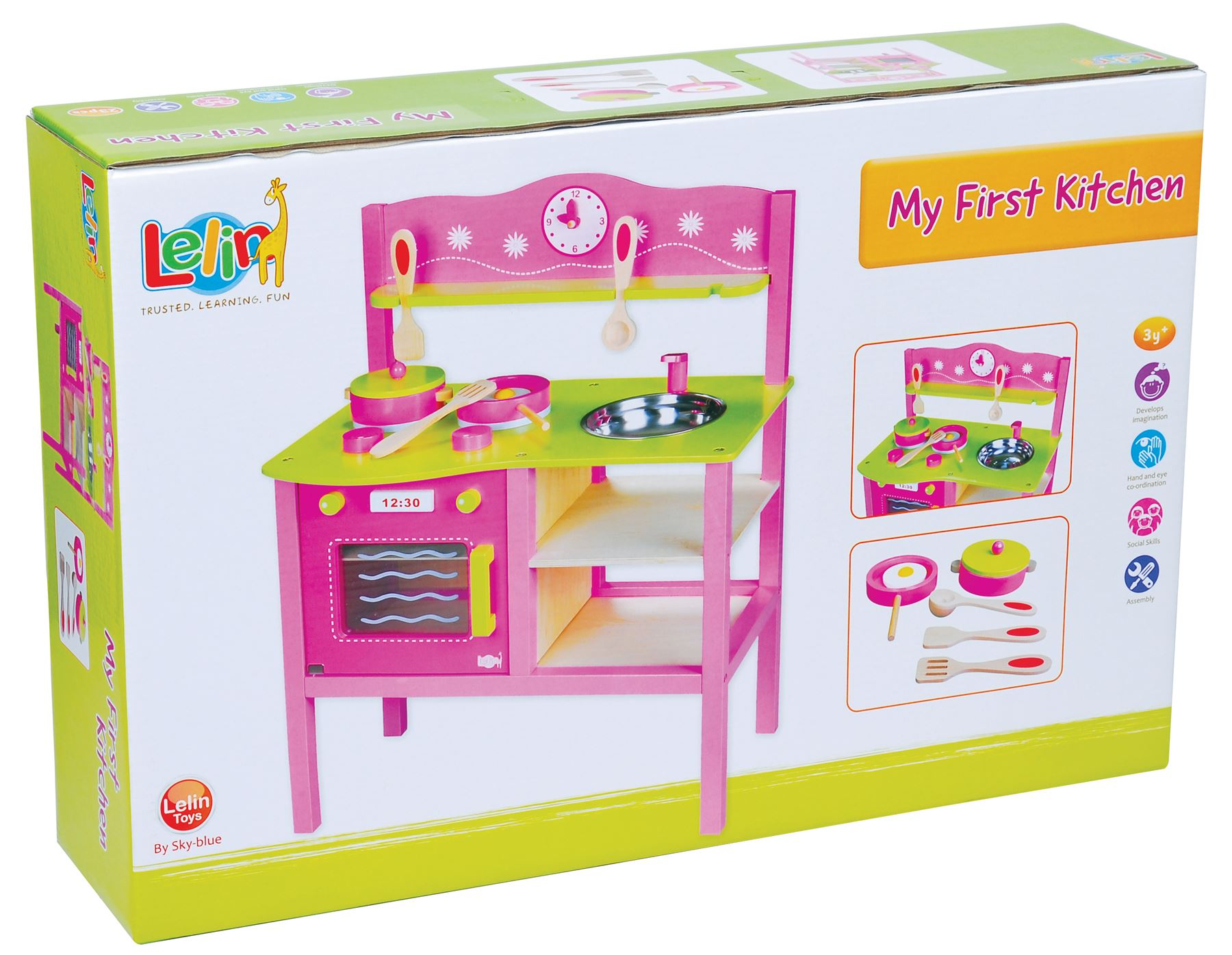 LELIN-WOODEN-WOOD-CHILDRENS-KIDS-PRETEND-PLAY-SAFFRON-KITCHEN-COOKING-OVEN-TOY thumbnail 14
