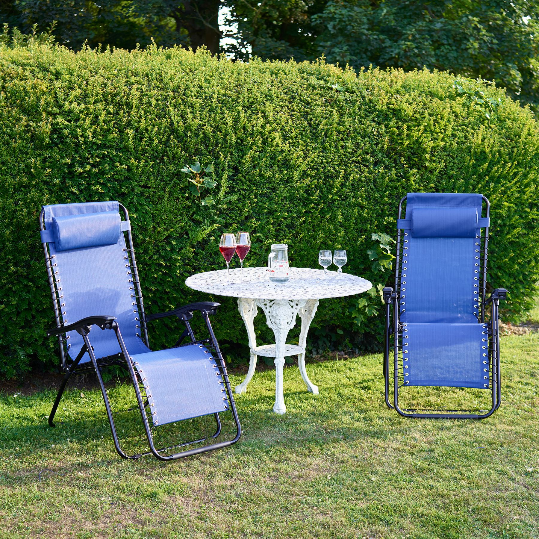 sentinel set of 2 vinsani textoline gravity reclining garden chairs in various colours