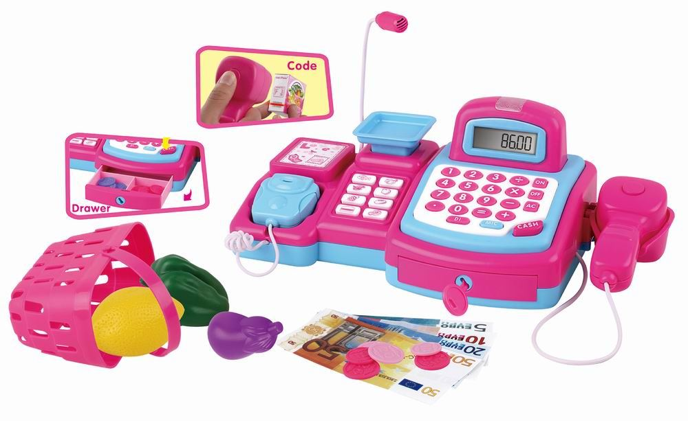Toy Cash Register With Scanner : Vinsani pink cash register with scanner walkie talkie