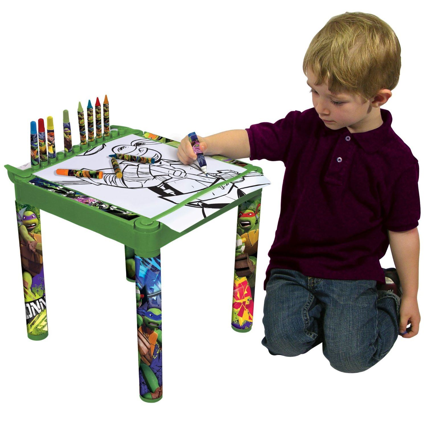 Kids Character Colouring Table Jumbo Crayons Markers & Paper Roll   eBay