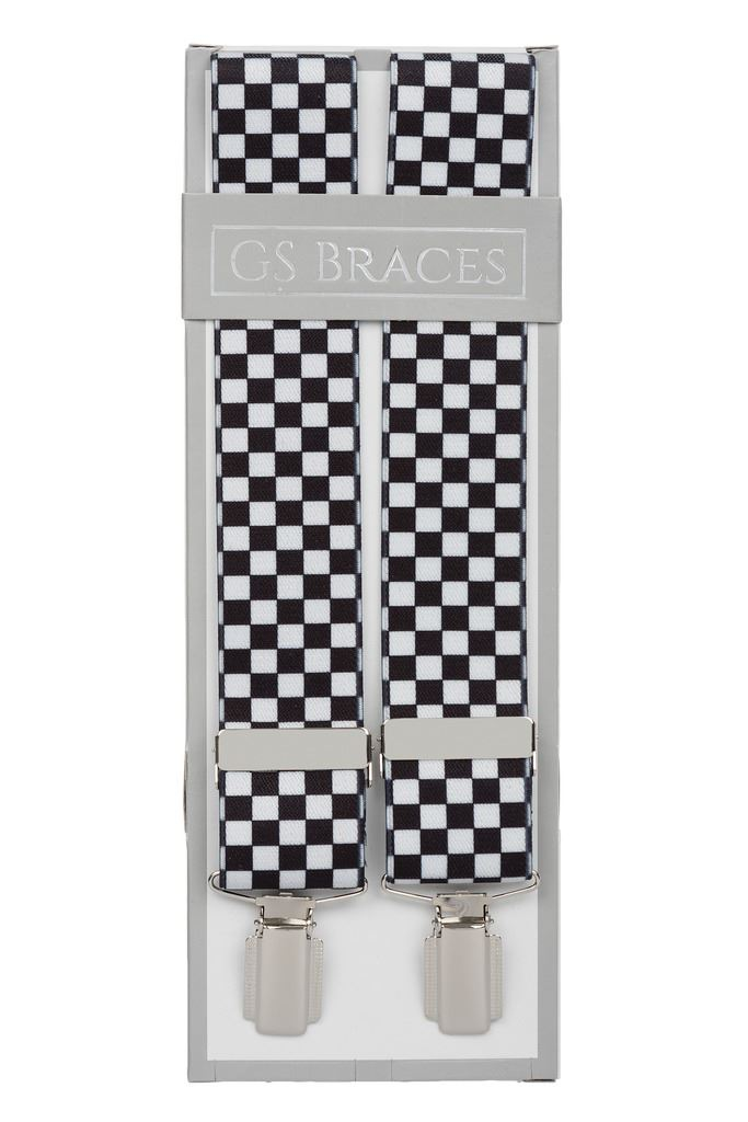 8-12yrs Kids Ska Check Chess Black White Children Trouser Braces  Suspenders