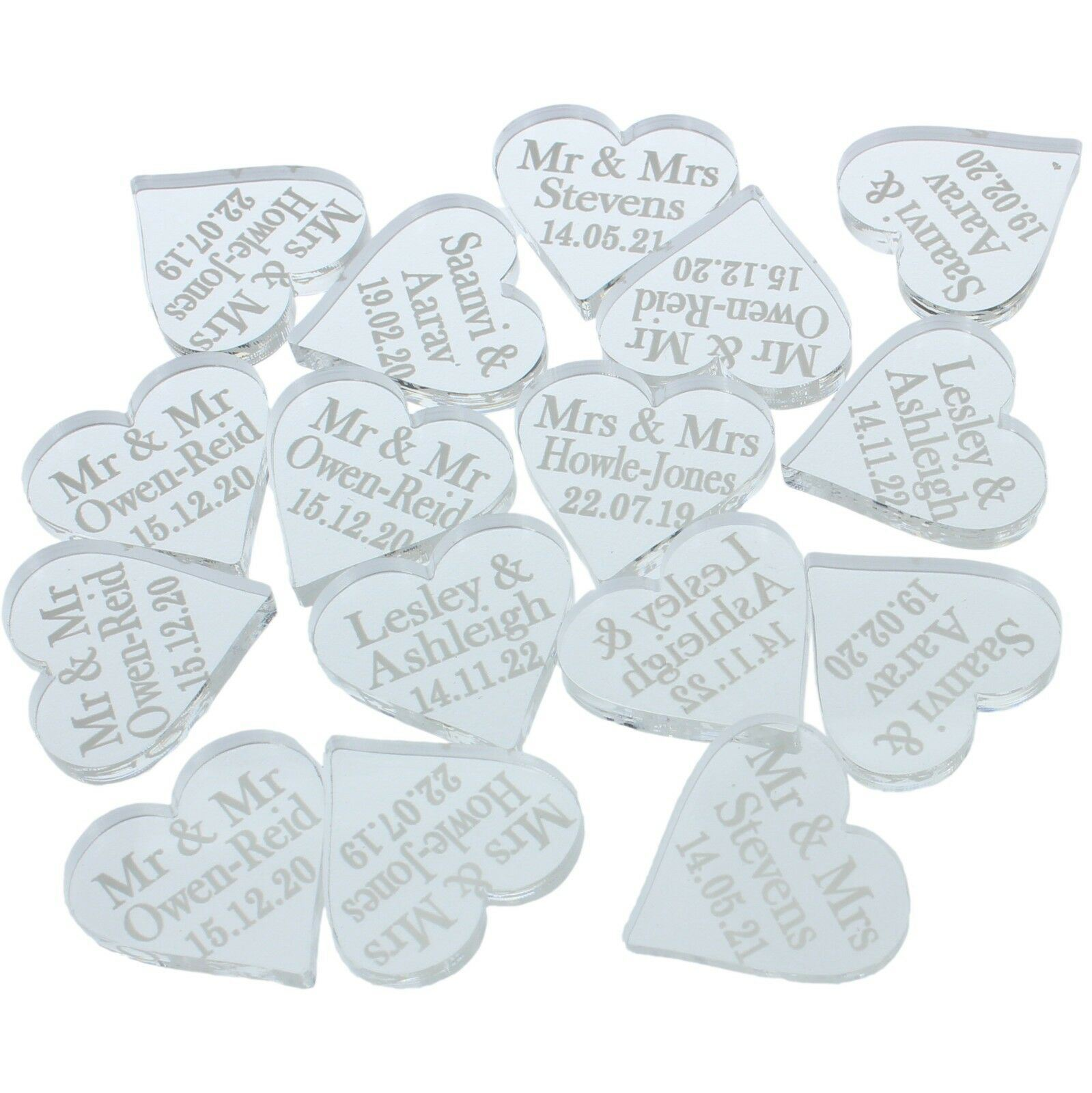 Personnalise-Mariage-Amour-Coeur-Mr-amp-Mrs-Decorations-de-table-mini-faveurs-Confettis miniature 7