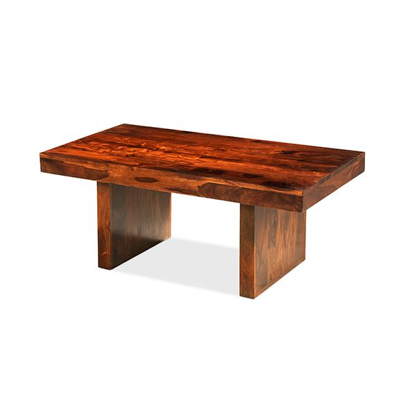 Solid Wood Block Coffee Table: Handcrafted Solid Sheesham Wood