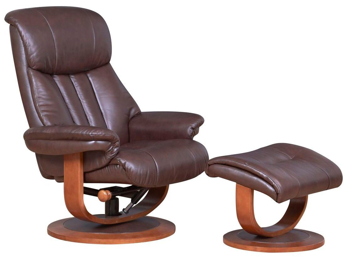 Hereford Genuine Leather Saddle Brown Swivel Recliner ...