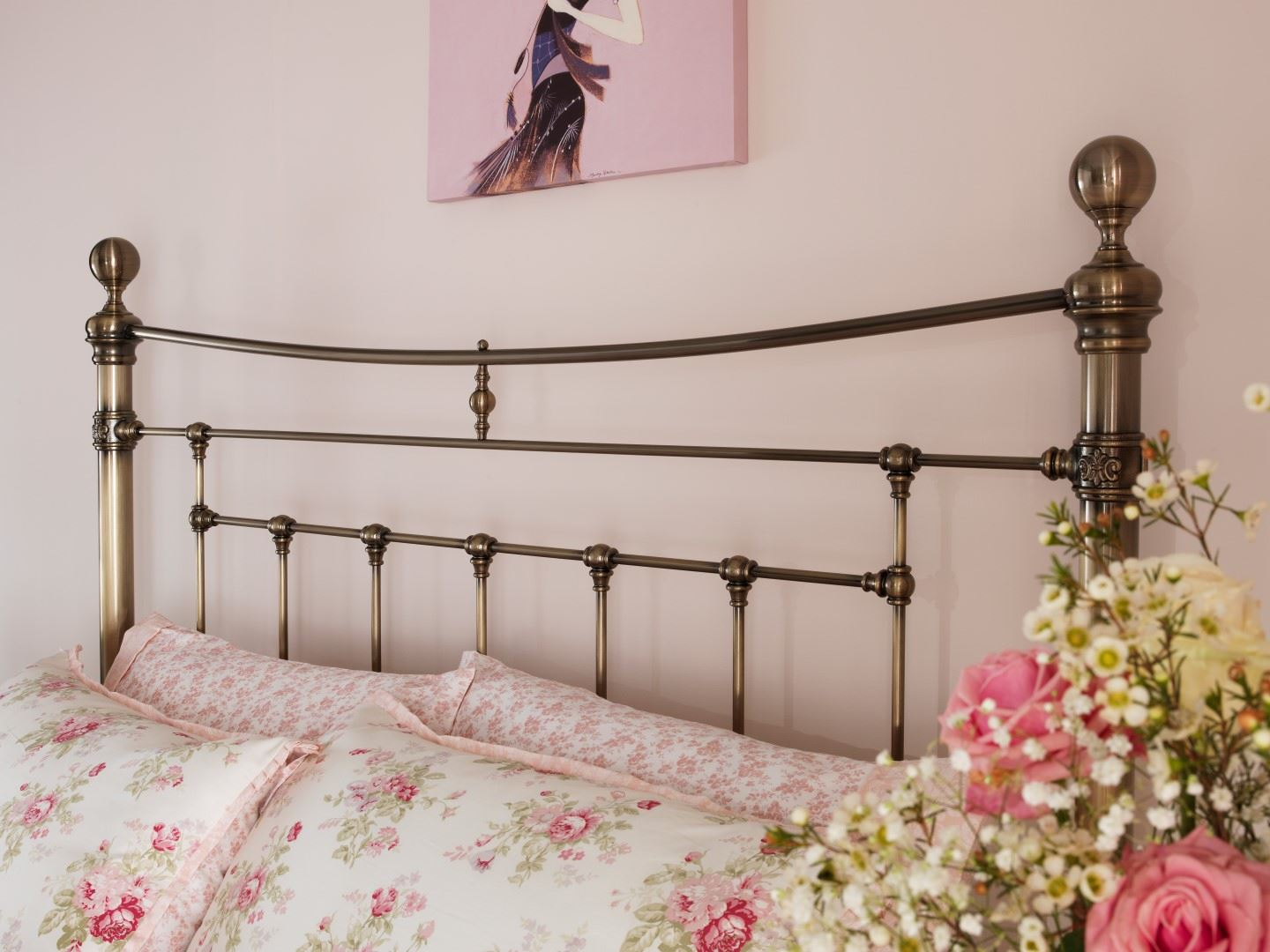 5ft king size metal headboard antique brass victorian style superb quality 5060444252309. Black Bedroom Furniture Sets. Home Design Ideas