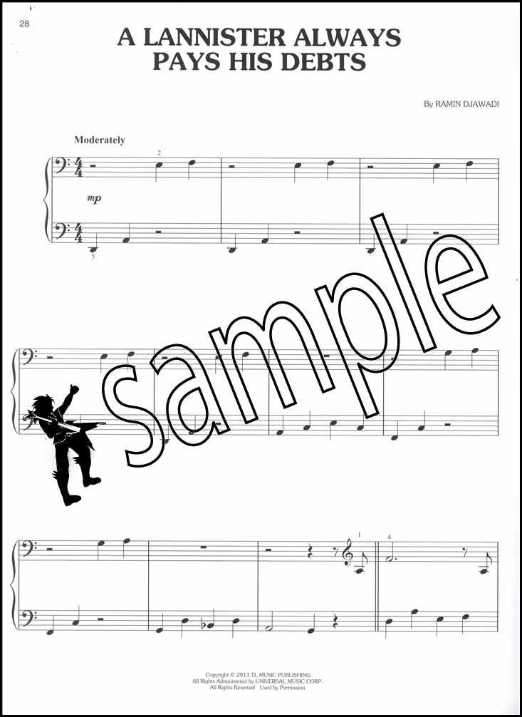 games of thrones easy piano sheet music book mhysa. Black Bedroom Furniture Sets. Home Design Ideas