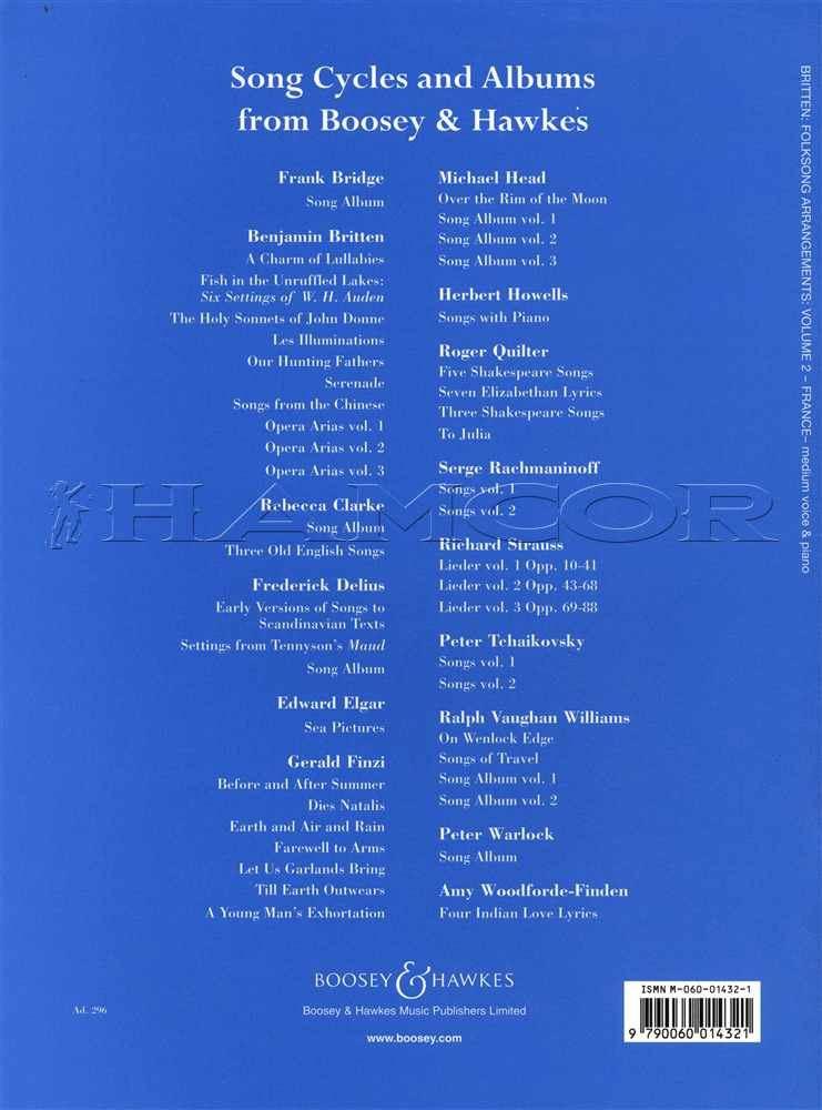 Musical Instruments & Gear Musical Instruments & Gear Benjamin Britten Folk Song Arrangements Medium Voice Volume 2 France Sheet Music