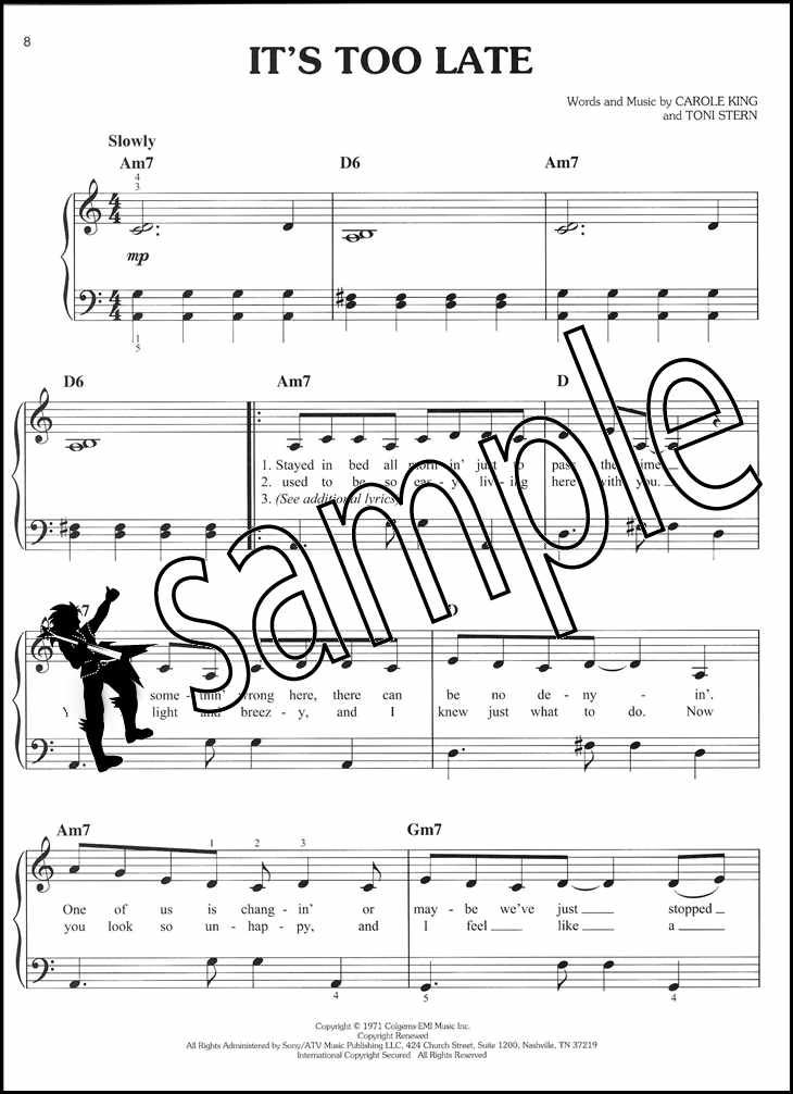 Beautiful The Carole King Musical Easy Piano Sheet Music Book On Broadway