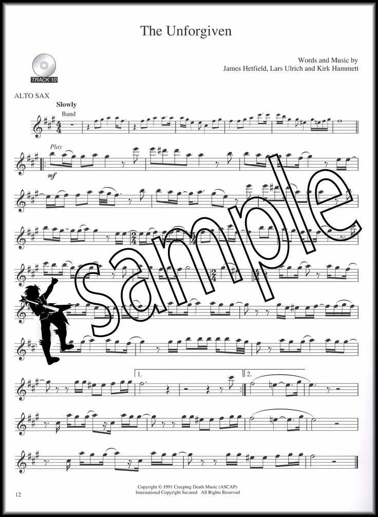 Best of Metallica for Alto Sax Saxophone Play Along Sheet Music Book//CD Metal