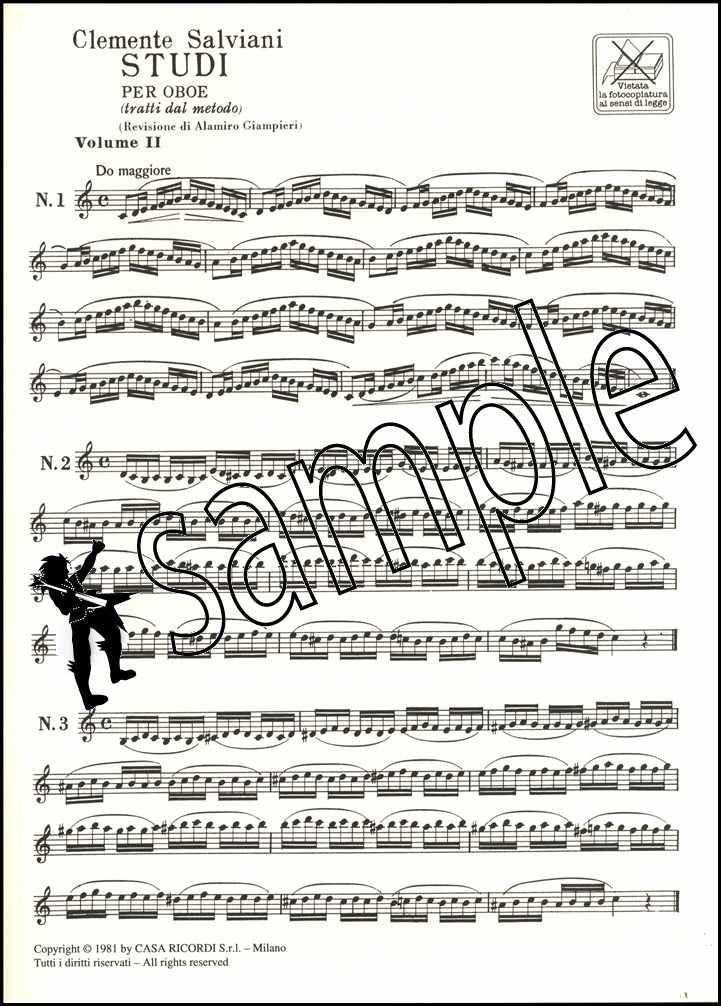 Clemente Salviani Studi Per Oboe Studies for Oboe Sheet Music Book Classical