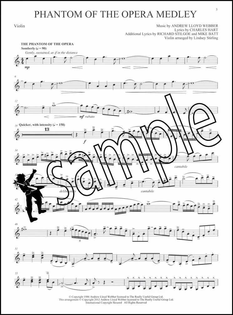 Details about Phantom of the Opera Violin Solo Sheet Music Book with Audio  Lindsey Stirling