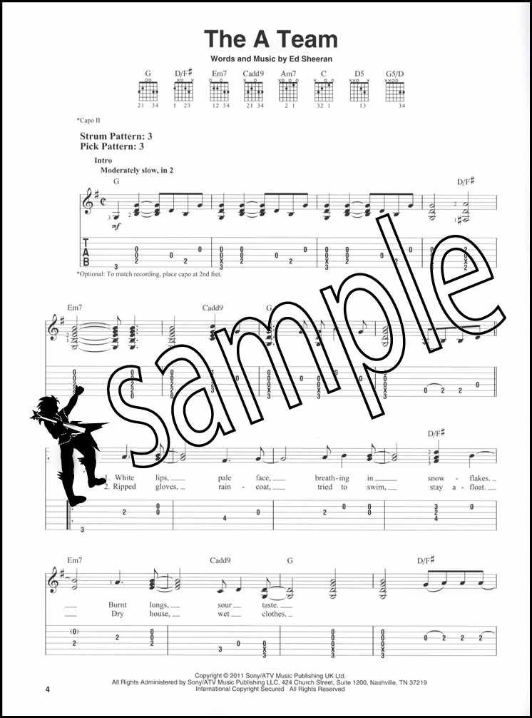 Details About Ed Sheeran For Easy Guitar Tab Sheet Music Book A Team Sing Photograph