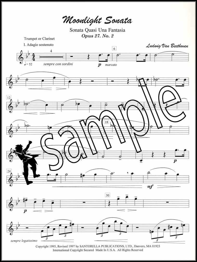 Details about Beethoven's Moonlight Sonata Trumpet, Bb Instruments & Piano  Sheet Music Sax