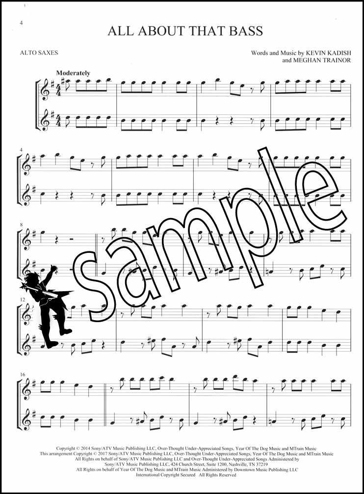 Details about Hit Songs for Two Alto Saxes Easy Instrumental Duets  Saxophone Sheet Music Book