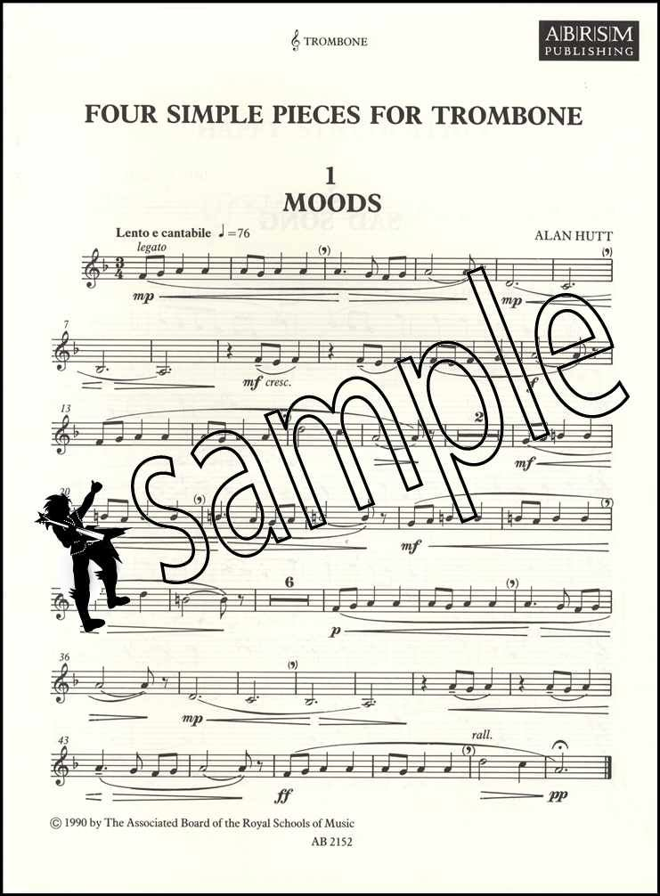 Details about Four Simple Pieces for Trombone Sheet Music Book Tenor & Bass  Clef ABRSM