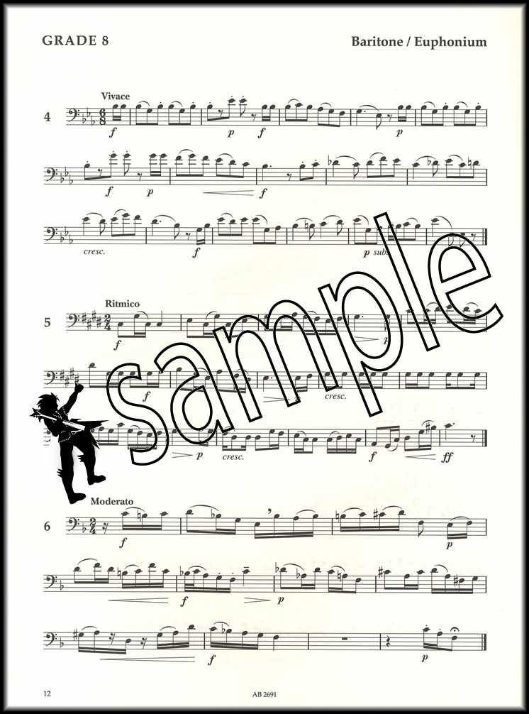 Tuba Baritone Euphonium Sight-Reading Tests Grades 6-8 ABRSM Music Book Bass BC