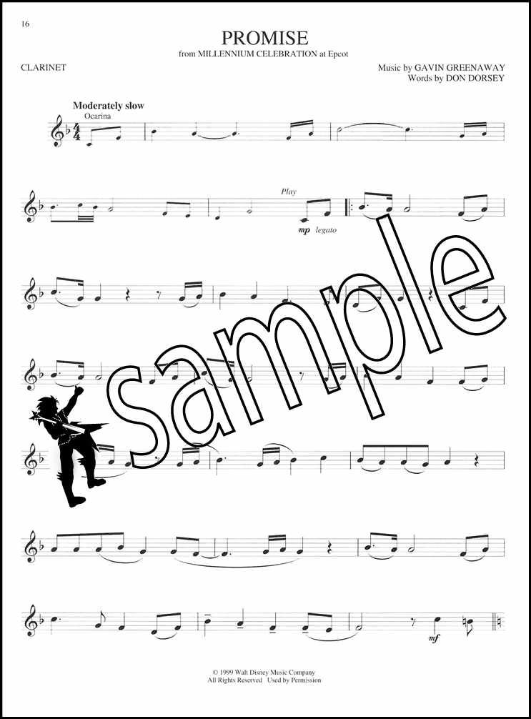 Disney Greats Clarinet Instrumental Play-along Sheet Music Book With Audio Contemporary