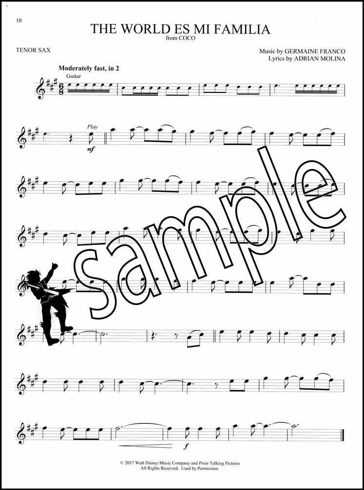 Details about Coco Instrumental Play-Along Tenor Sax Saxophone Sheet Music  Book/Audio Disney