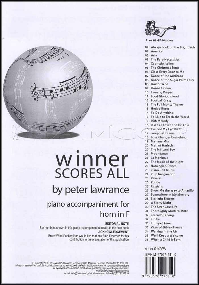 Winner Scores All Piano Accompaniment for Horn in F Sheet Music Book