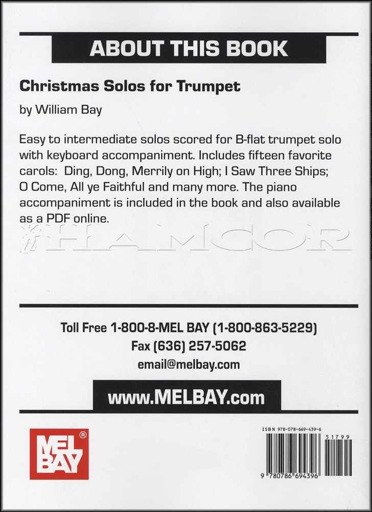 Details about Christmas Solos for Trumpet Sheet Music Book Level 1 Mel Bay  William