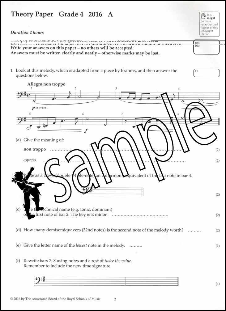 ABRSM Music Theory Past Papers 2016 Grade 4 Book Theory