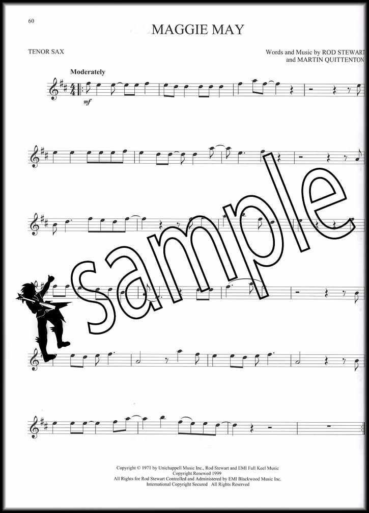 Selections from 100 Greatest Songs of Rock /& Roll for Tenor Sax Sheet Music Book