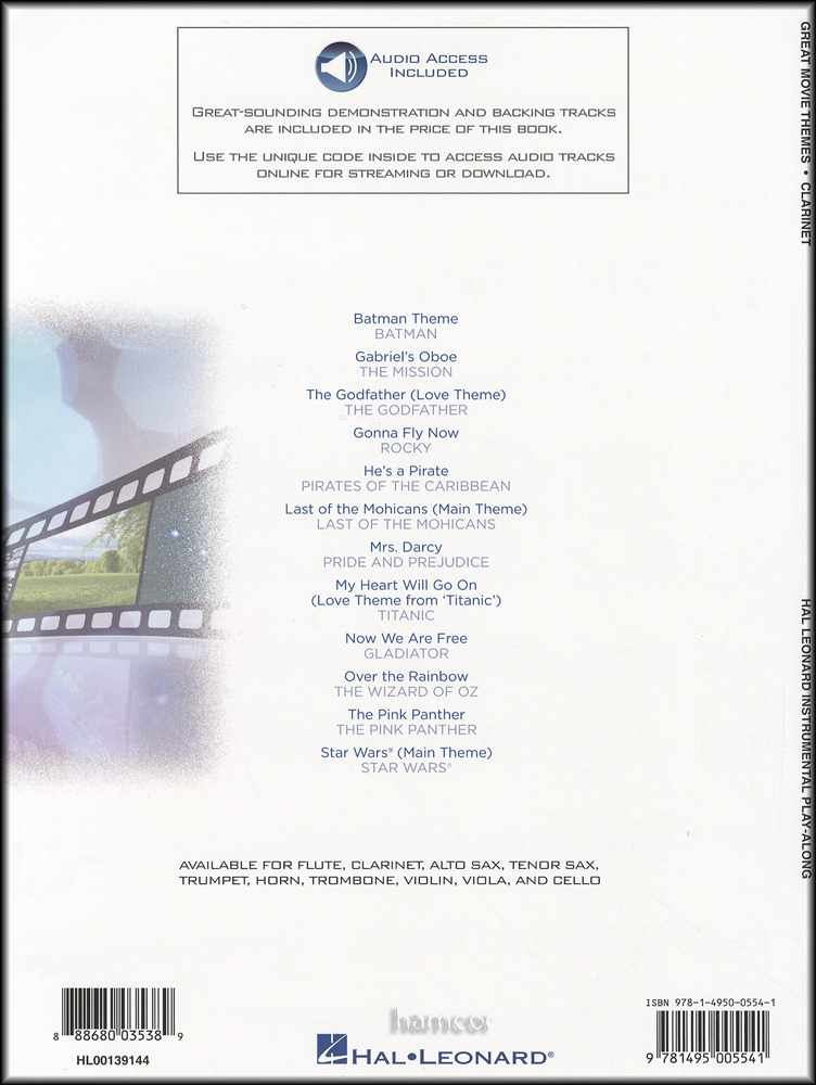Details about Great Movie Themes for Clarinet Instrumental Play-Along Sheet  Music Book/Audio