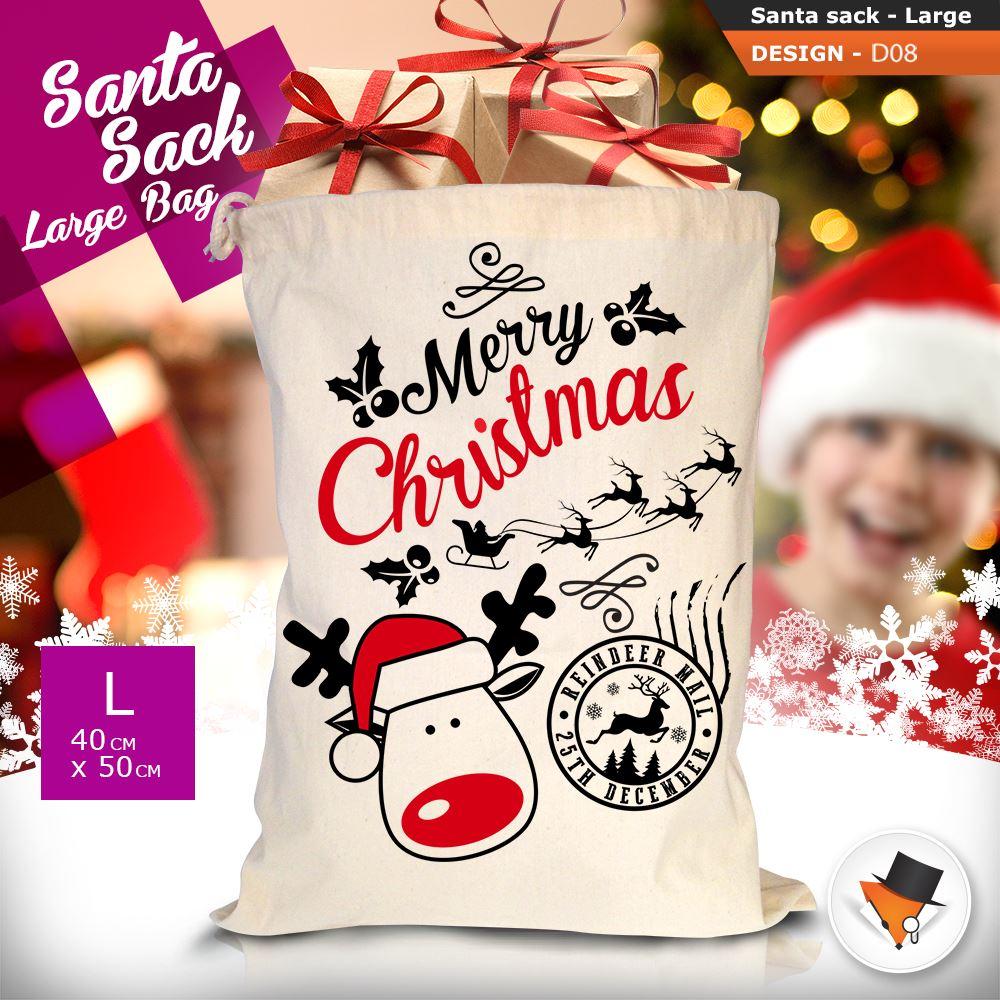 GRANDE-Babbo-Natale-Sacco-Babbo-Natale-Borsa-per-i-REGALI-DONI-NATALE-Calze-Di-Cotone miniatura 33