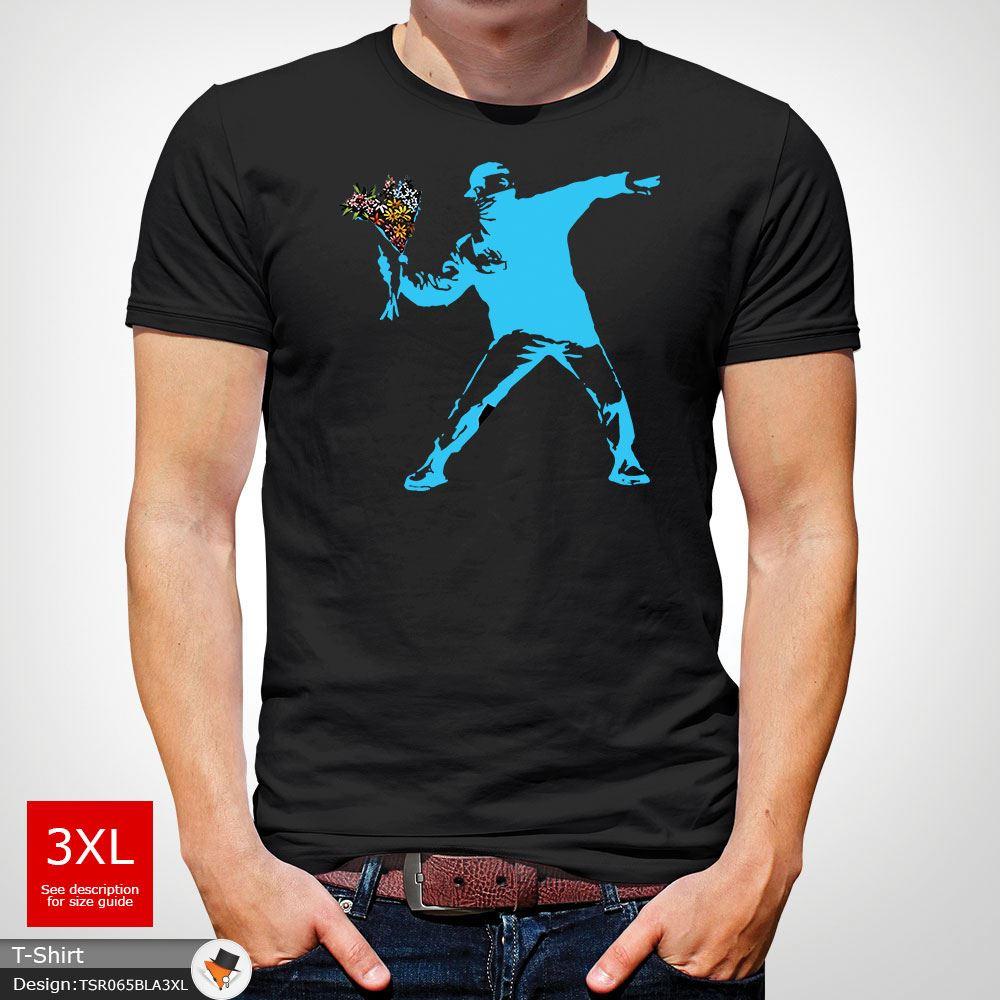 BANKSY-FLOWER-THROWER-STREET-ART-Tshirt-Unisex-T-Shirt-Christmas-Birthday-Blue miniatuur 4