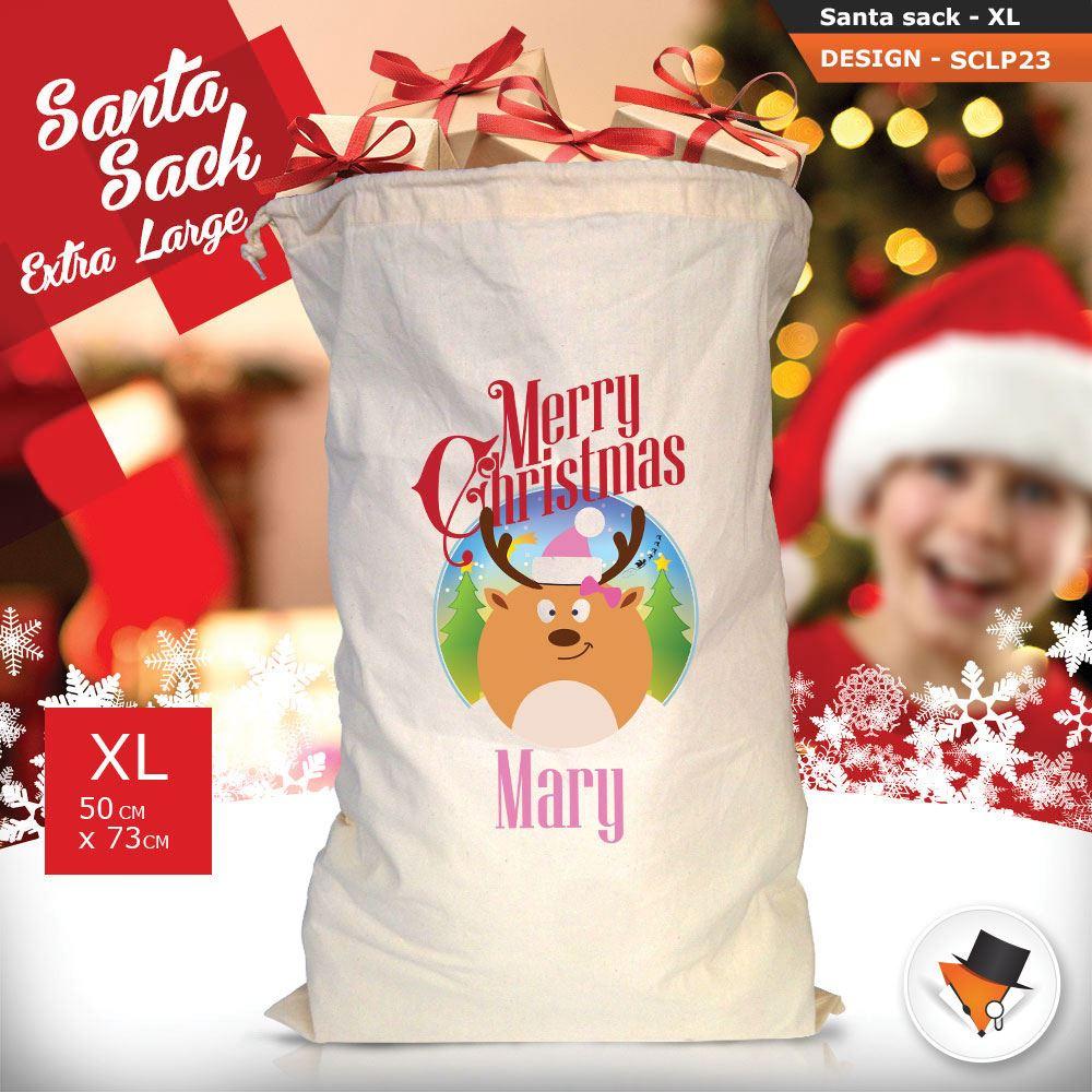 Personalizzato-Per-Bambini-Babbo-Natale-Sacco-Sacchetto-Di-Natale-Renna-Cartone-Animato-Carina-Rosa miniatura 50