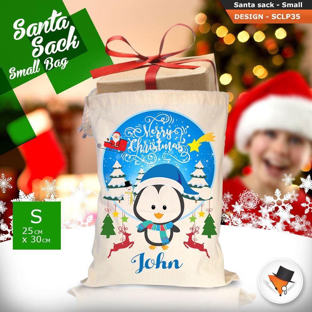 Personalizzato-Per-Bambini-Babbo-Natale-Sacco-Sacchetto-Cartone-Animato-Carina-Renna-Rosso miniatura 98