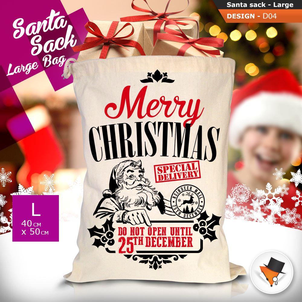 GRANDE-Babbo-Natale-Sacco-Babbo-Natale-Borsa-per-i-REGALI-DONI-NATALE-Calze-Di-Cotone miniatura 17