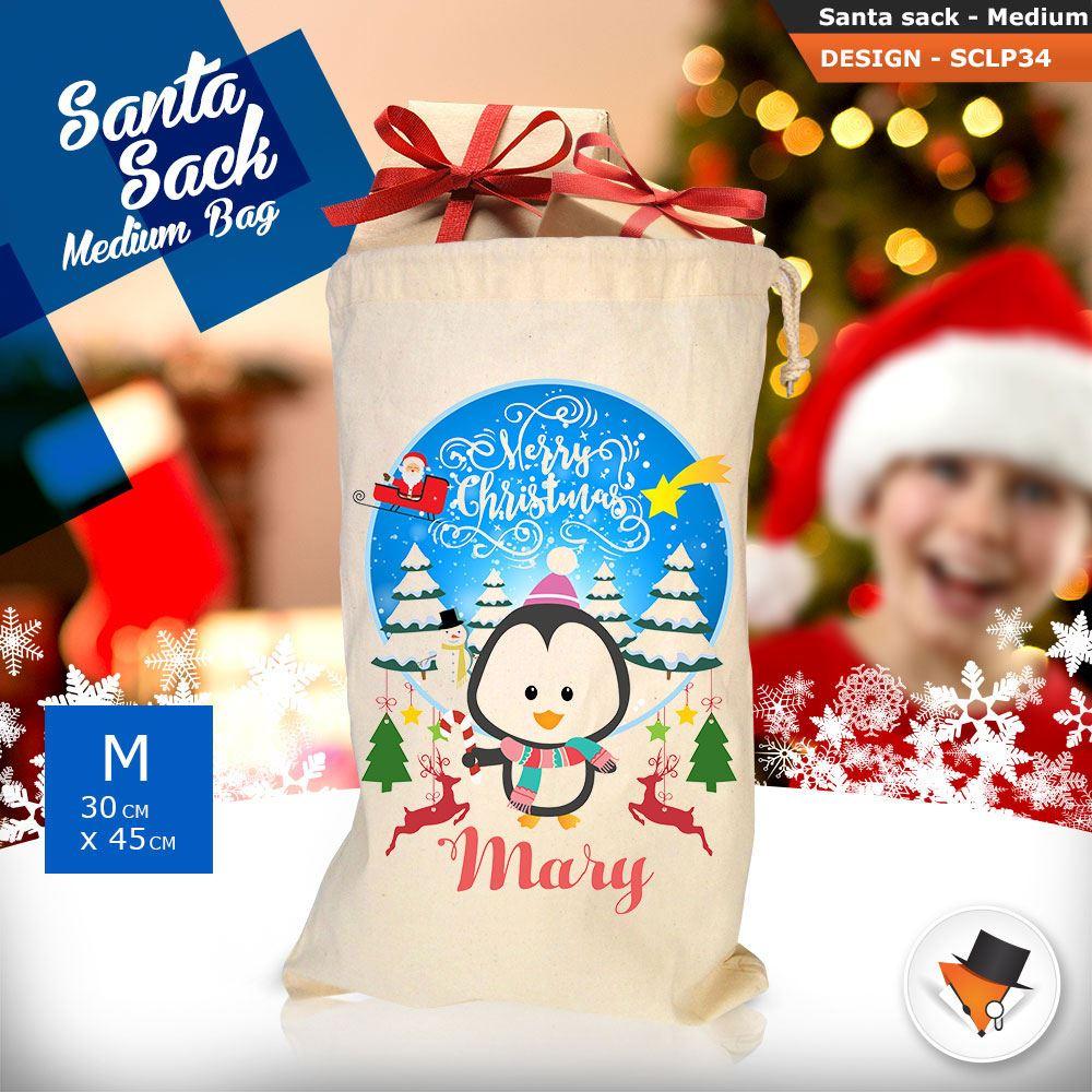 Personalizzato-Per-Bambini-Babbo-Natale-Sacco-Sacchetto-Cartone-Animato-Carina-Renna-Rosso miniatura 93