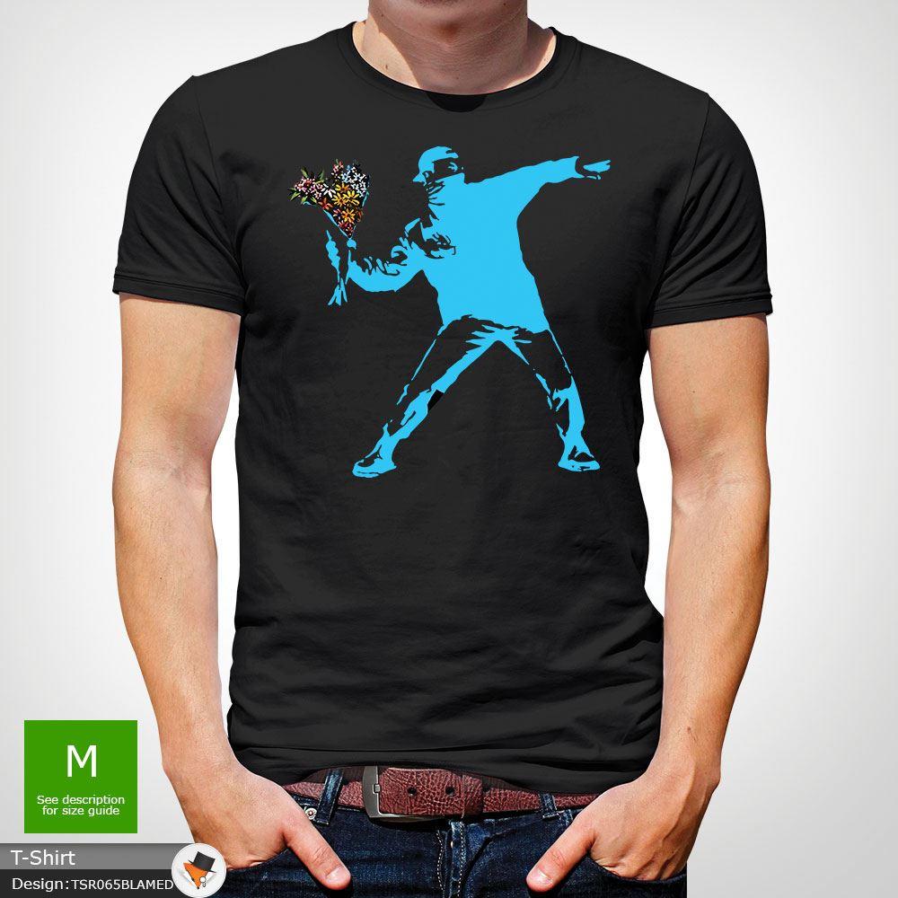 BANKSY-FLOWER-THROWER-STREET-ART-Tshirt-Unisex-T-Shirt-Christmas-Birthday-Blue miniatuur 8