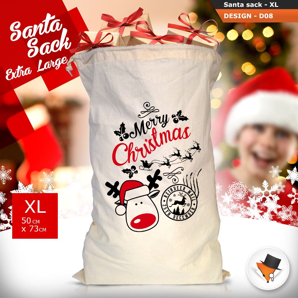 GRANDE-Babbo-Natale-Sacco-Babbo-Natale-Borsa-per-i-REGALI-DONI-NATALE-Calze-Di-Cotone miniatura 31