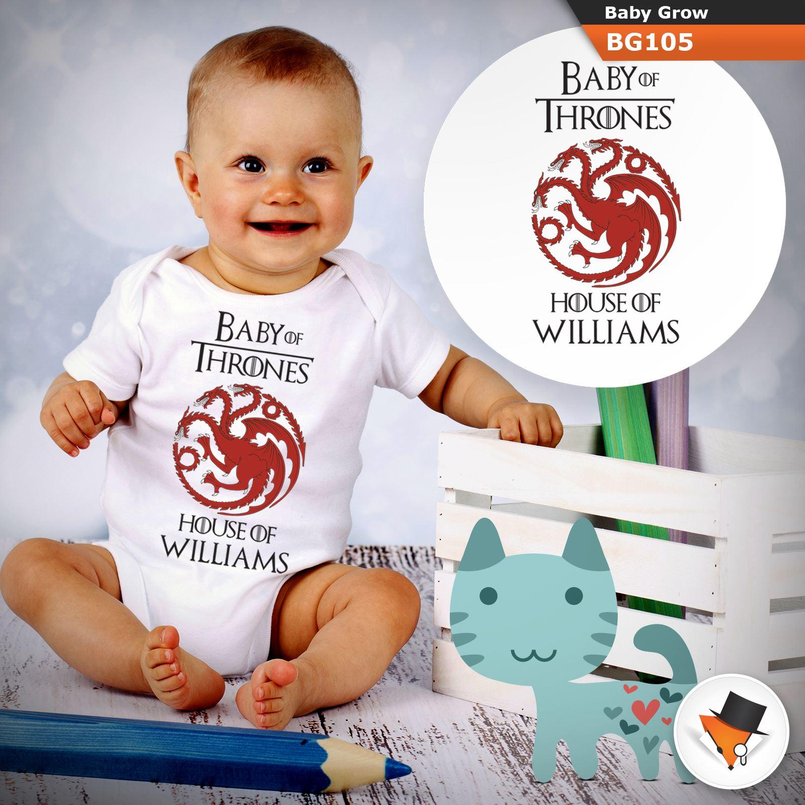 Personnalisée Game of Thrones Stark Babygrow Baby Grow Toutes Tailles