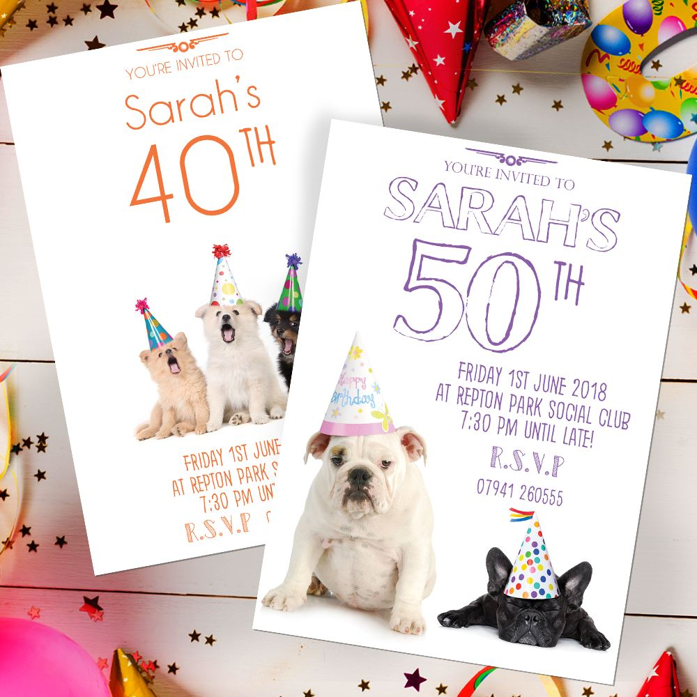 Details About Funny Dog Birthday Invitations Party Invites Personalised Any Age 40th 50th