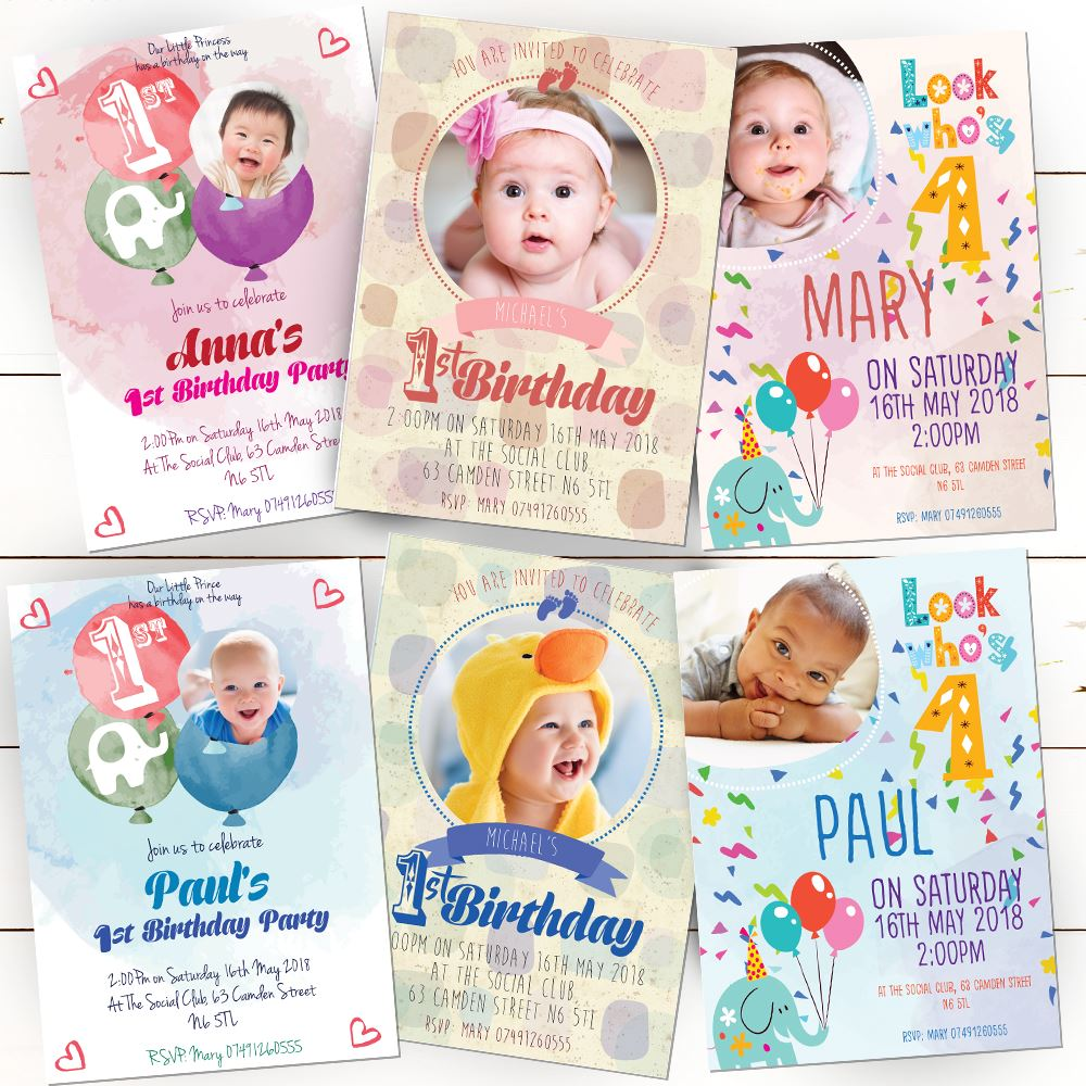 Details About Personalised 1st Birthday Invitations First Party Invites Boy Girl Photo