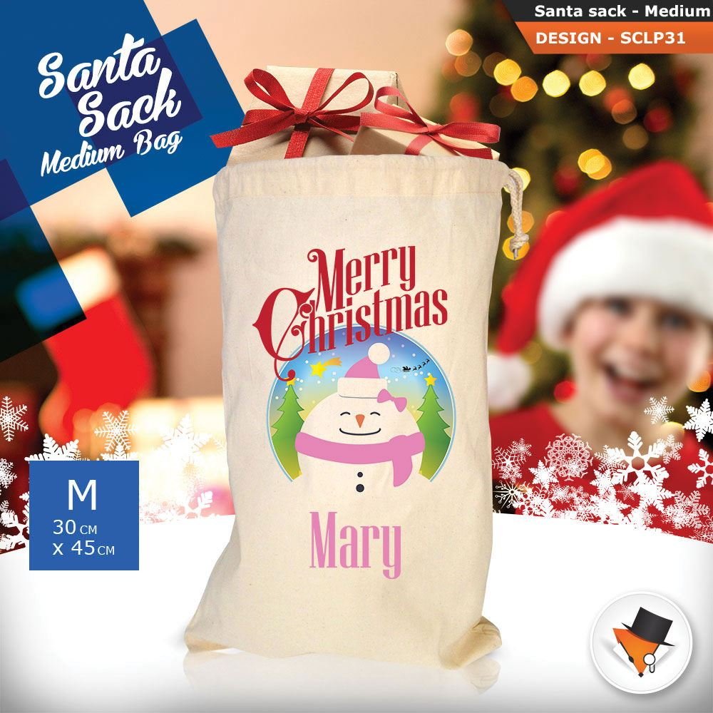 Personalizzato-Per-Bambini-Babbo-Natale-Sacco-Sacchetto-Cartone-Animato-Carina-Renna-Rosso miniatura 82