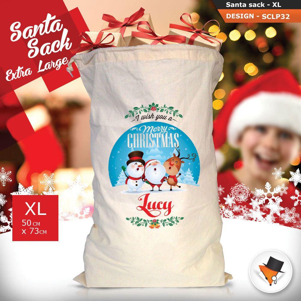 Personalizzato-Per-Bambini-Babbo-Natale-Sacco-Sacchetto-Cartone-Animato-Carina-Renna-Rosso miniatura 85