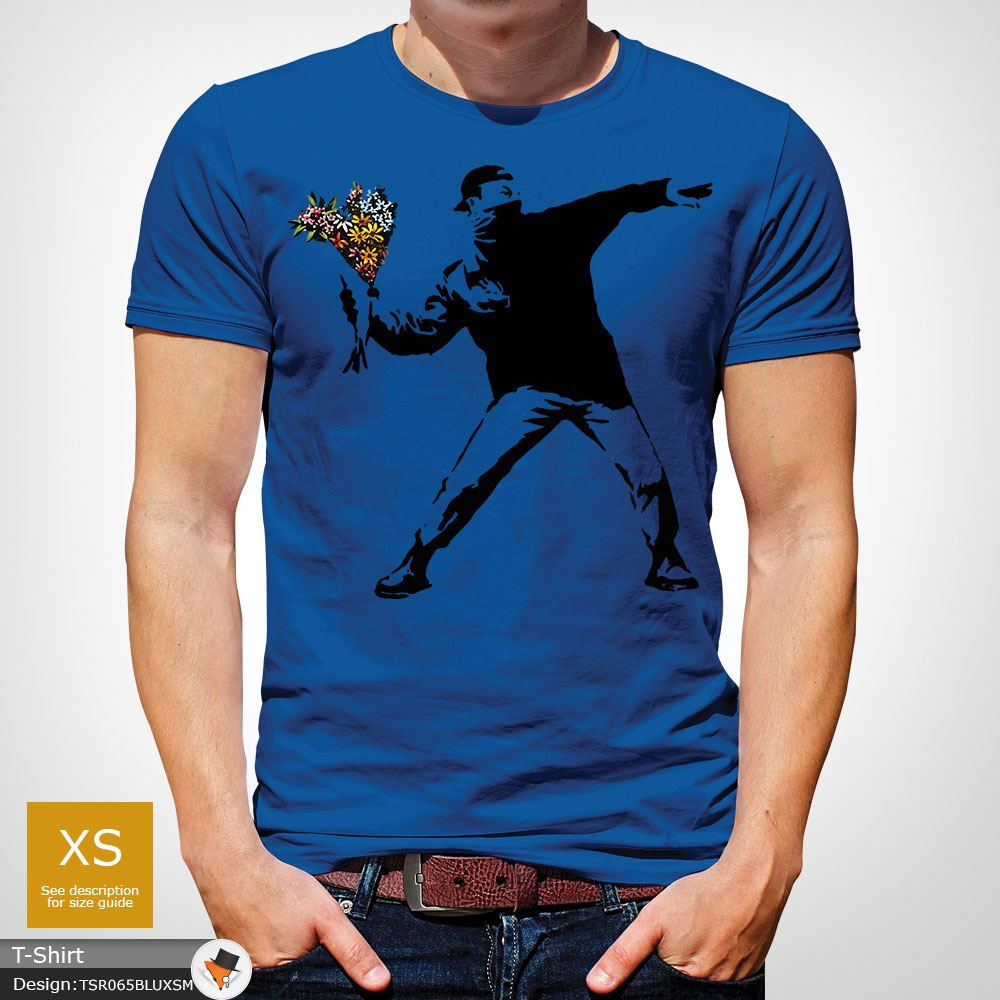 BANKSY-FLOWER-THROWER-STREET-ART-Tshirt-Unisex-T-Shirt-Christmas-Birthday-Blue miniatuur 42