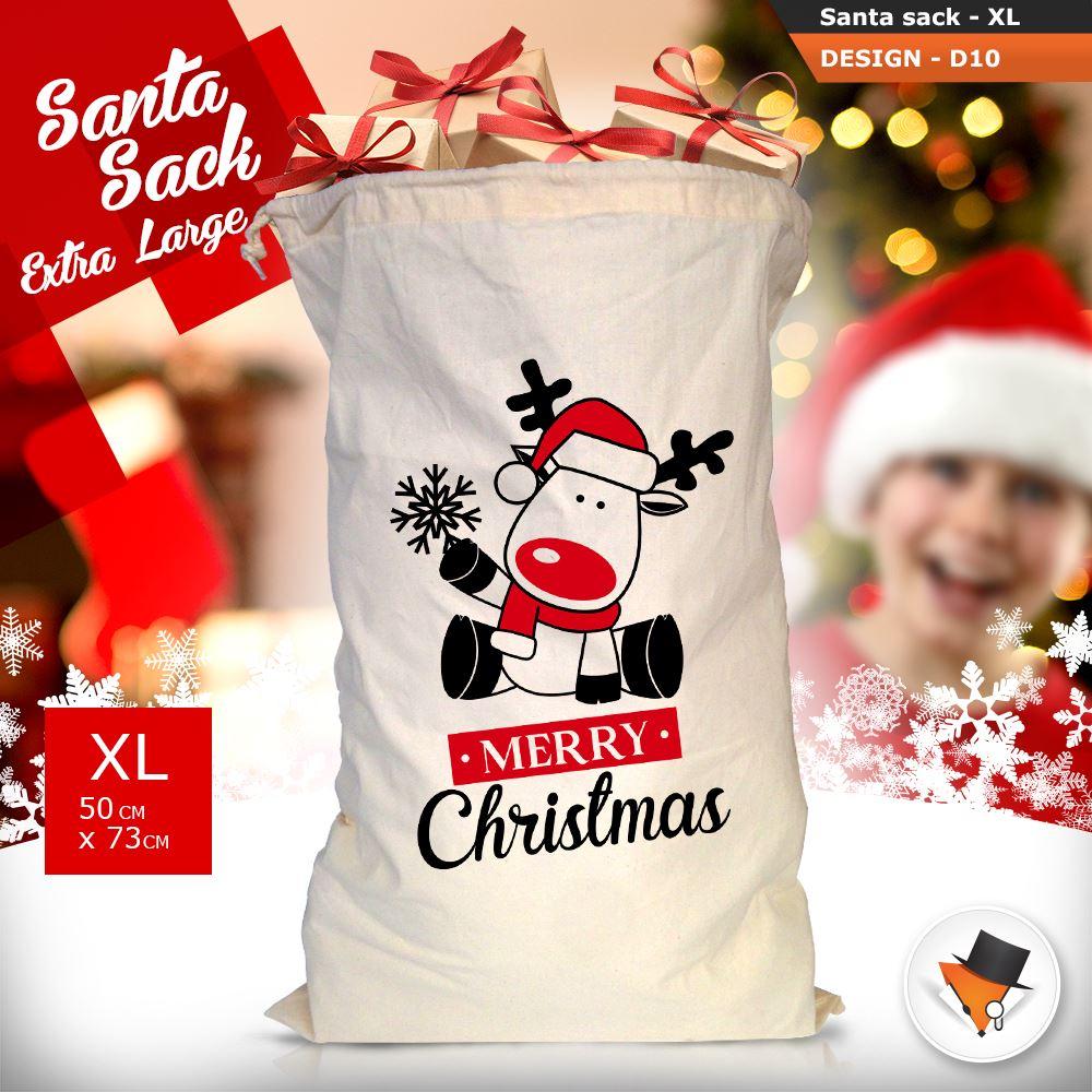 GRANDE-Babbo-Natale-Sacco-Babbo-Natale-Borsa-per-i-REGALI-DONI-NATALE-Calze-Di-Cotone miniatura 40
