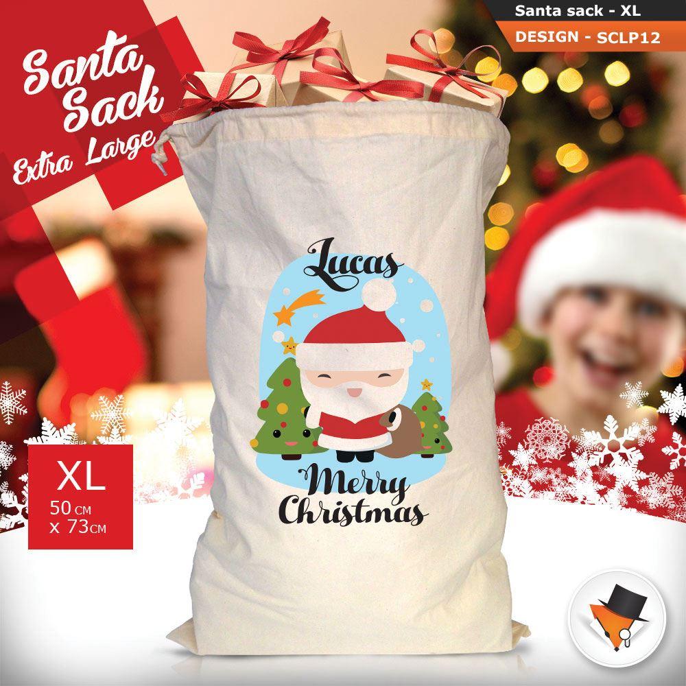 Personalizzato-Per-Bambini-Babbo-Natale-Sacco-Sacchetto-Cartone-Animato-Carina-Renna-Rosso miniatura 4