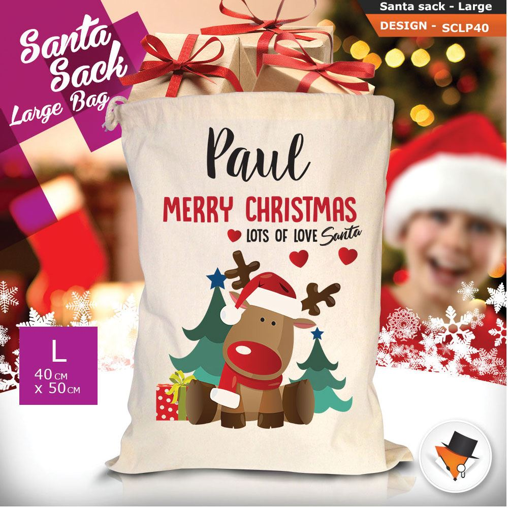 Personalizzato-Per-Bambini-Babbo-Natale-Sacco-Sacchetto-Cartone-Animato-Carina-Renna-Rosso miniatura 118