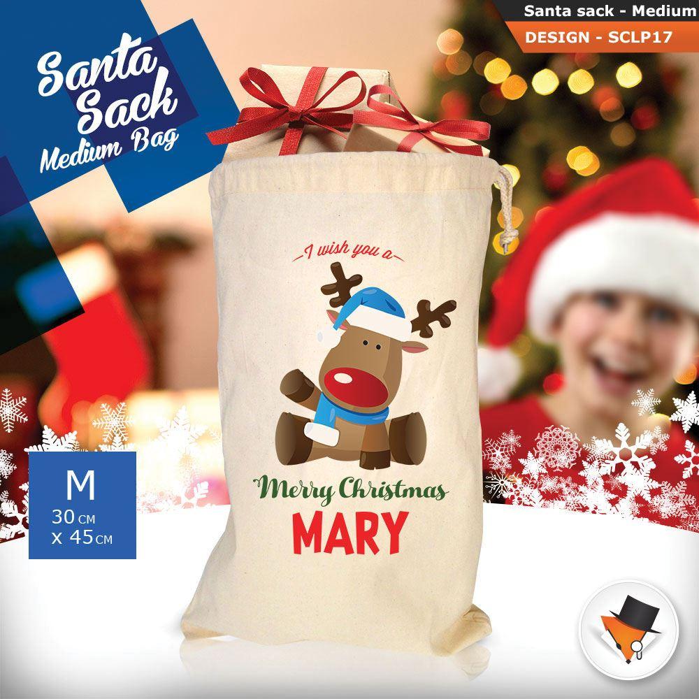 Personalizzato-Per-Bambini-Babbo-Natale-Sacco-Sacchetto-Cartone-Animato-Carina-Renna-Rosso miniatura 25