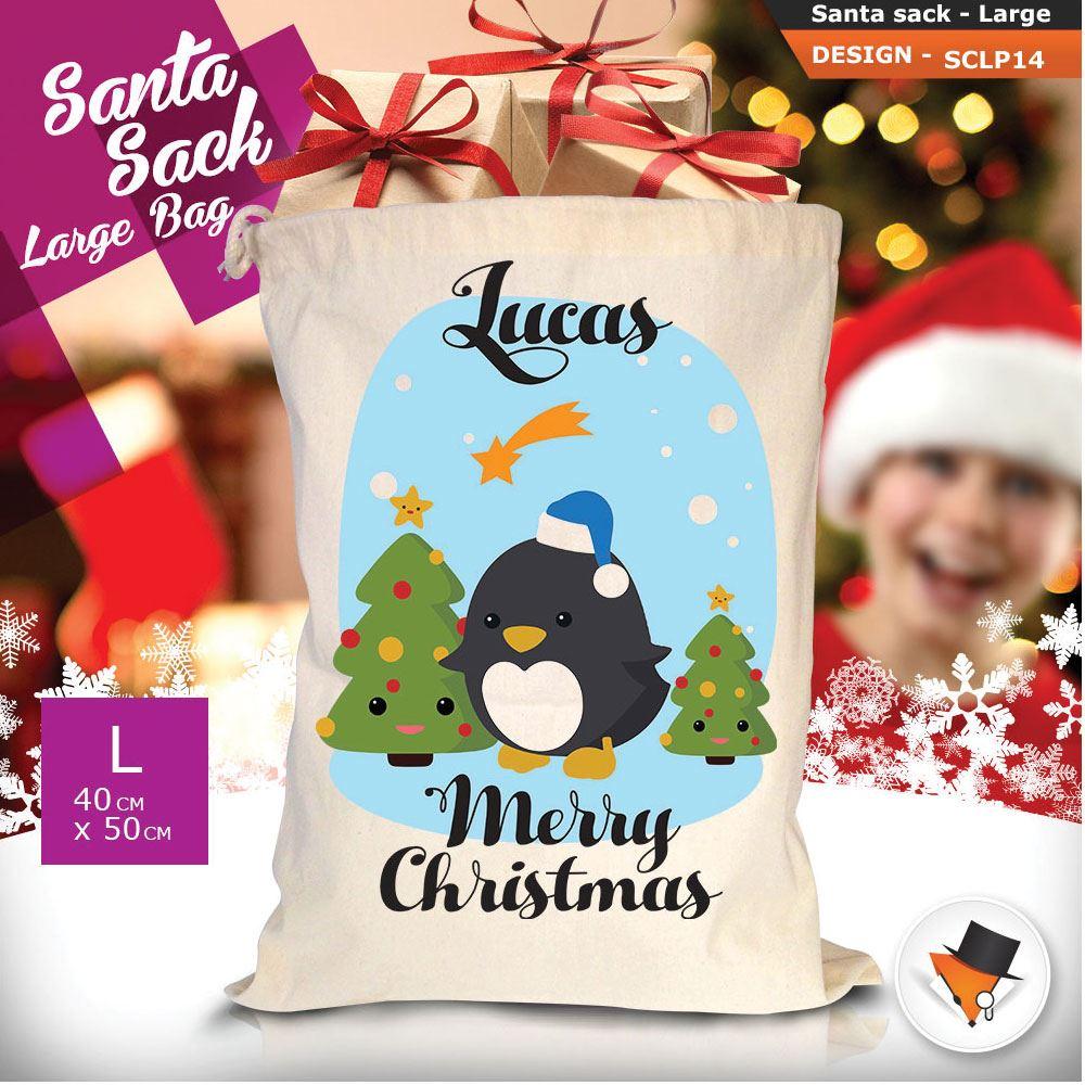 Personalizzato-Per-Bambini-Babbo-Natale-Sacco-Sacchetto-Cartone-Animato-Carina-Renna-Rosso miniatura 12