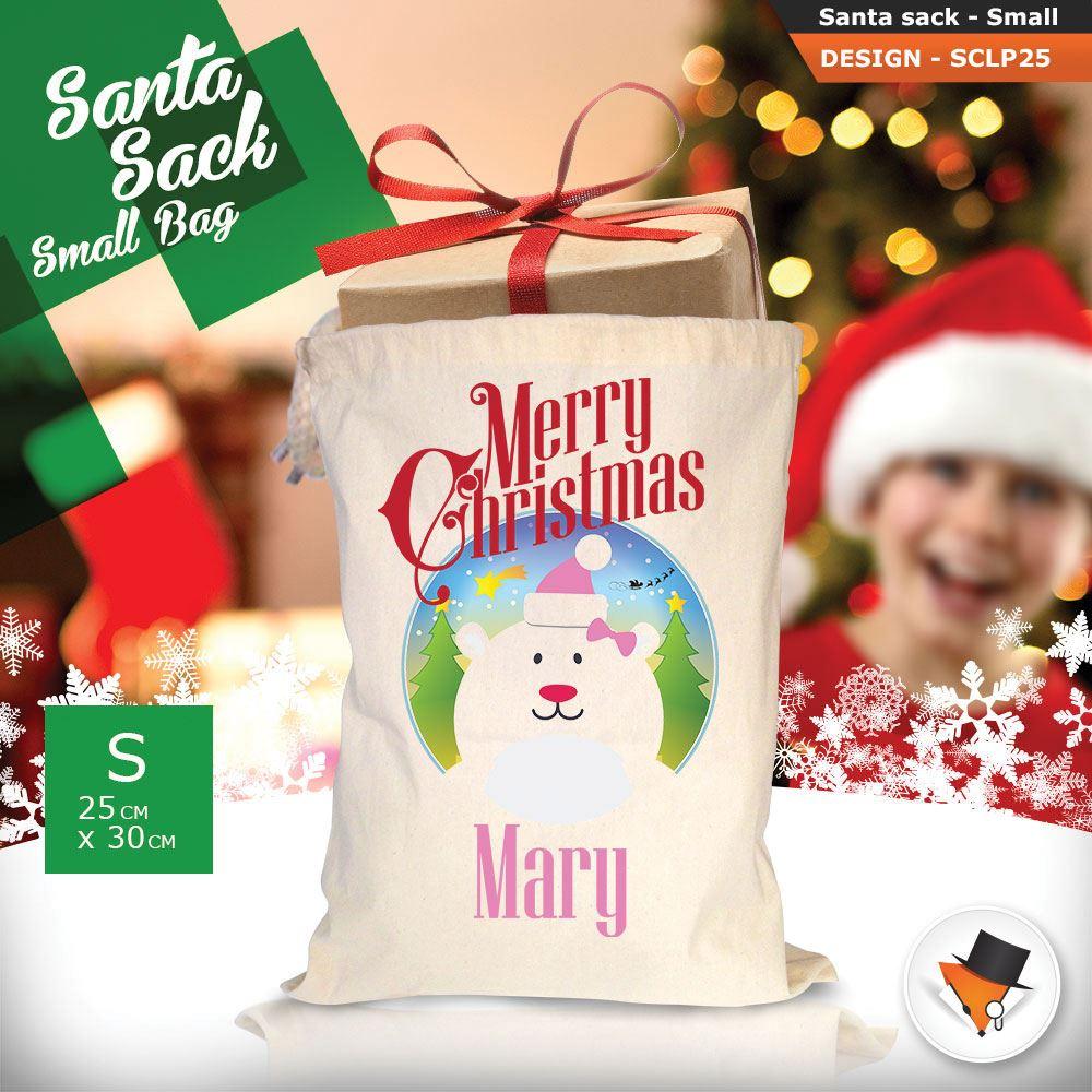 Personalizzato-Per-Bambini-Babbo-Natale-Sacco-Sacchetto-Di-Natale-Renna-Cartone-Animato-Carina-Rosa miniatura 57