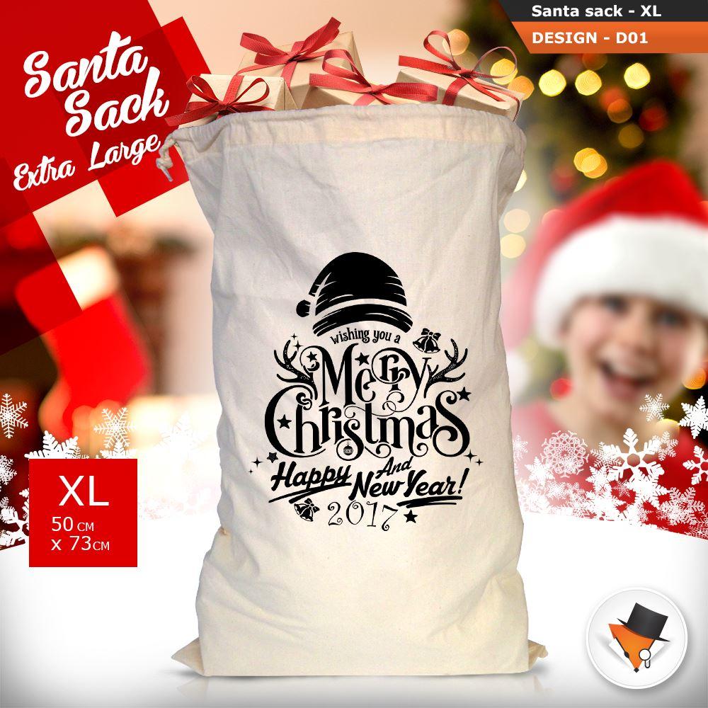 GRANDE-Babbo-Natale-Sacco-Babbo-Natale-Borsa-per-i-REGALI-DONI-NATALE-Calze-Di-Cotone miniatura 5