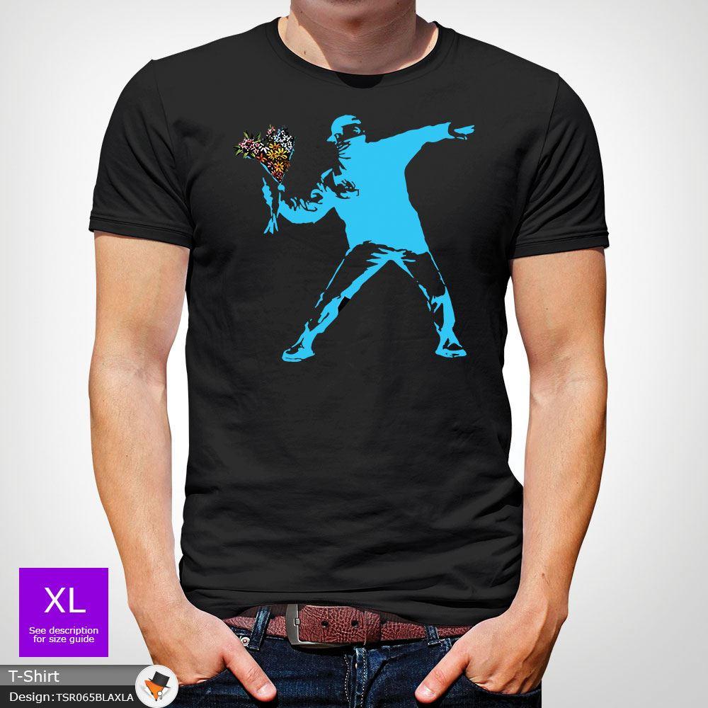 BANKSY-FLOWER-THROWER-STREET-ART-Tshirt-Unisex-T-Shirt-Christmas-Birthday-Blue miniatuur 9