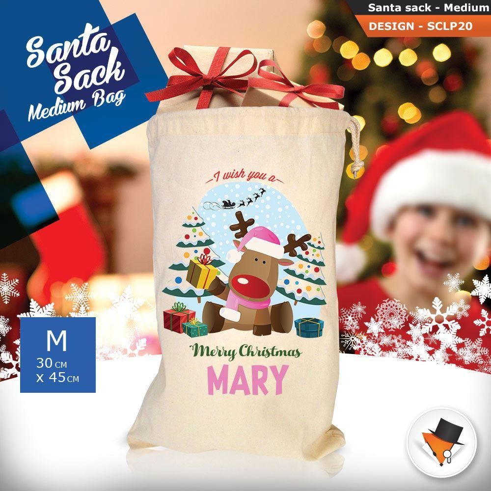 Personalizzato-Per-Bambini-Babbo-Natale-Sacco-Sacchetto-Cartone-Animato-Carina-Renna-Rosso miniatura 38
